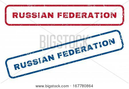 Russian Federation text rubber seal stamp watermarks. Vector style is blue and red ink tag inside rounded rectangular shape. Grunge design and unclean texture. Blue and red stickers.