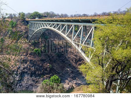 Victoria Falls Bridge between Zambia and Zimbabwe, which is the border and also used for tourists to bungee jump from.