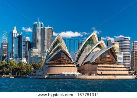 Sydney Opera House With Skyscrapers Of Sydney Cbd On Background
