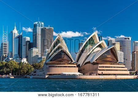 Sydney Opera House With Skyscrapers Of Sydney Cbd On Background