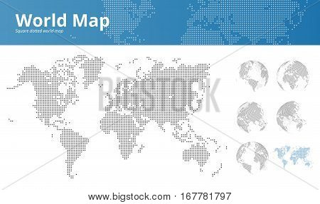 Square dotted world map and earth globes showing all continents. Vector illustration template for web design, annual reports, infographics, business presentations, printed material, travel and tourism