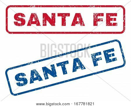 Santa Fe text rubber seal stamp watermarks. Vector style is blue and red ink caption inside rounded rectangular shape. Grunge design and dirty texture. Blue and red emblems.