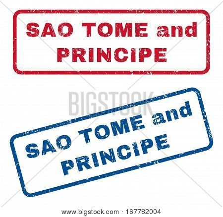 Sao Tome and Principe text rubber seal stamp watermarks. Vector style is blue and red ink caption inside rounded rectangular shape. Grunge design and scratched texture. Blue and red stickers.