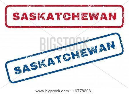 Saskatchewan text rubber seal stamp watermarks. Vector style is blue and red ink tag inside rounded rectangular banner. Grunge design and dust texture. Blue and red emblems.