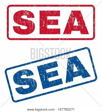 Sea text rubber seal stamp watermarks. Vector style is blue and red ink caption inside rounded rectangular shape. Grunge design and dust texture. Blue and red emblems.