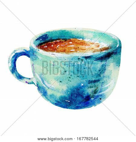Watercolor blue cup of cappuccino illustration.The coffee cup with saucer and cinnamon isolated on white background hand-drawn watercolor illustration