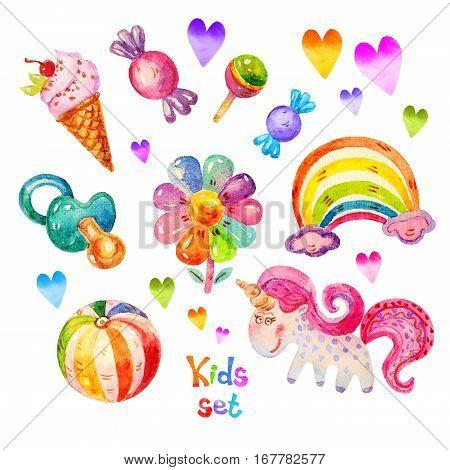 Colorful Watercolor kids set in cartoon childish toys stile of unicorn pacifier heart ball flower candy ice cream rainbow icons. Hand drawing cute watercolor kids set icon illustration isolated on white background.