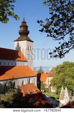Exterior of the Visby medival cathedral in Swedish province of Gotland.