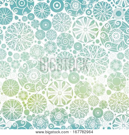 VectorBlue Green Gradient Abstract Doodle Circles Seamless Pattern Background. Great for elegant gold texture fabric, cards, wedding invitations, wallpaper. Textile pattern design.