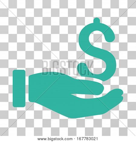 Earnings Hand icon. Vector illustration style is flat iconic symbol, cyan color, transparent background. Designed for web and software interfaces.