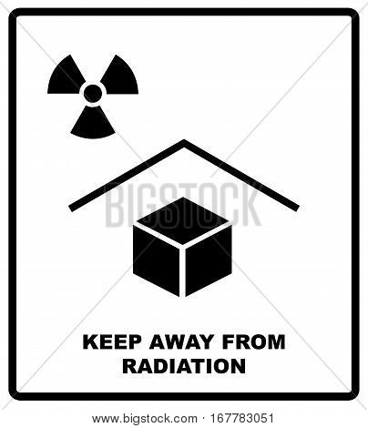 Vector illustration of the package sign - Keep away from radiation - X-ray radiation text. Packaging label. Black silhouettes, symple flat style.