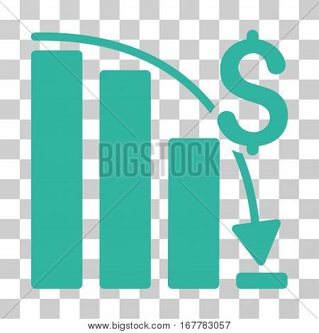 Epic Fail Trend icon. Vector illustration style is flat iconic symbol, cyan color, transparent background. Designed for web and software interfaces.