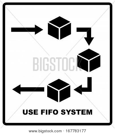 Use fifo system sign. FIFO - first in, first out. business acronym term, vector illustration. Packaging symbol. Shipping industrial banner