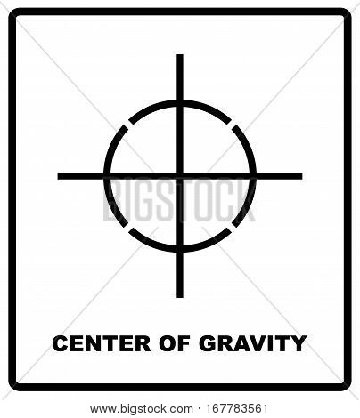 CENTER OF GRAVITY packaging symbol on a corrugated cardboard box. For use on cardboard boxes, packages and parcels. Vector illustration.