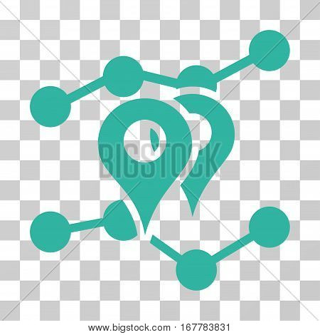 Geo Markers Trends icon. Vector illustration style is flat iconic symbol, cyan color, transparent background. Designed for web and software interfaces.