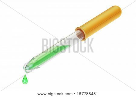 Dropper with green liquid 3D rendering isolated on white background