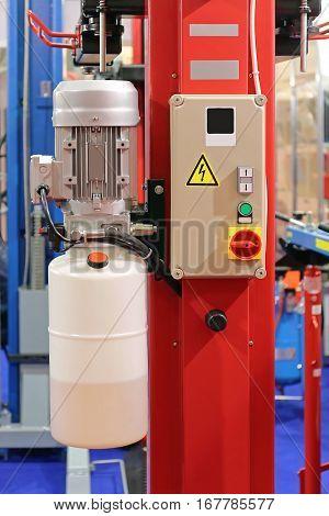 Hydraulic Car Lift Equipment in Service Garage