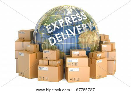 Express delivery and worldwide shipping concept parcels with Earth. 3D rendering isolated on white background