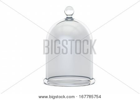 Glass Bell or Bell Jar 3D rendering isolated on white background