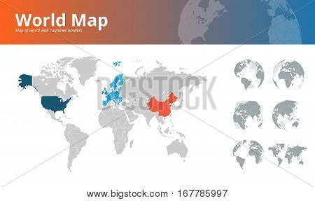 World map countries vector photo free trial bigstock world map with countries borders and earth globes showing all continents vector illustration template for gumiabroncs Choice Image