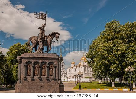 Monument Of Prince Vladimir In Front Of The Assumption Cathedral In Vladimir, Russia