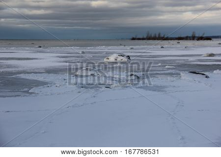 Frozen shallow water of Lake Michigan near Old Mission Peninsula, Michigan