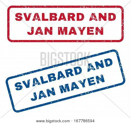 Svalbard and Jan Mayen text rubber seal stamp watermarks. Vector style is blue and red ink tag inside rounded rectangular shape. Grunge design and dust texture. Blue and red signs.
