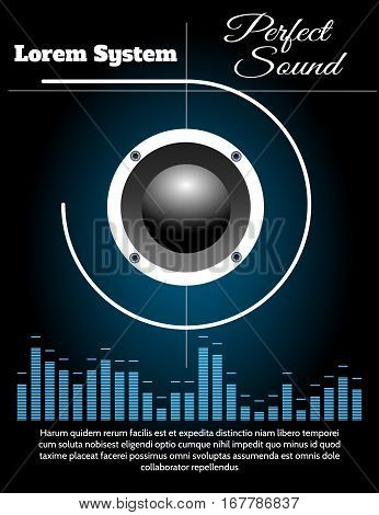 Music Loudspeaker and equalizer against black background. Sound system poster vector template.