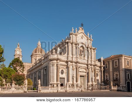 Piazza Duomo Or Cathedral Square With Cathedral Of Santa Agatha Or Catania Duomo In Catania