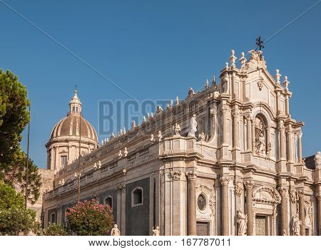 Piazza Duomo or Cathedral Square with Cathedral of Santa Agatha or Catania duomo in Catania in Sicily Italy