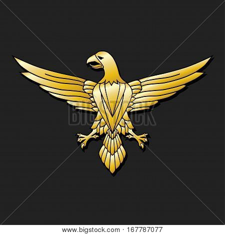 Illustration golden eagle emblem on a gray background.