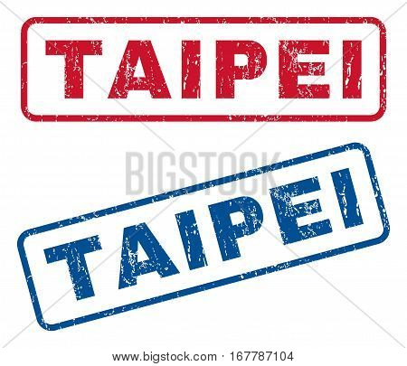 Taipei text rubber seal stamp watermarks. Vector style is blue and red ink caption inside rounded rectangular shape. Grunge design and dust texture. Blue and red signs.