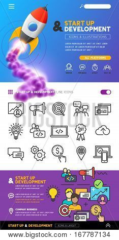 business startup and development concept with illustrations and design with line icons. vector