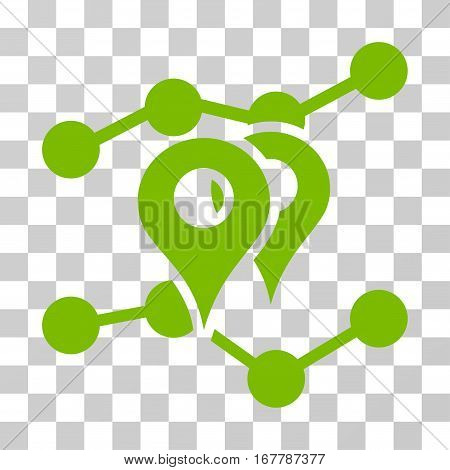 Geo Markers Trends icon. Vector illustration style is flat iconic symbol, eco green color, transparent background. Designed for web and software interfaces.