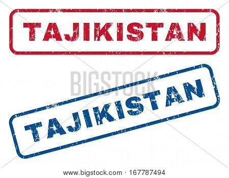 Tajikistan text rubber seal stamp watermarks. Vector style is blue and red ink caption inside rounded rectangular shape. Grunge design and dirty texture. Blue and red stickers.