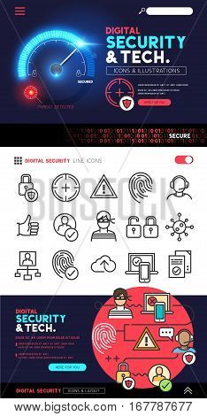 Digital Security and Technology designs with a flat icon set and privacy and cyber safety illustrations - vector collection.