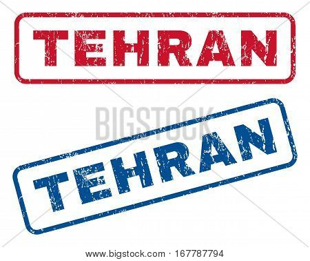 Tehran text rubber seal stamp watermarks. Vector style is blue and red ink caption inside rounded rectangular banner. Grunge design and unclean texture. Blue and red stickers.