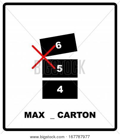 Stacking Limitation, maximum cartons number by Mass vector packaging symbol on vector cardboard background. Handling mark on craft paper background. Can be used on a box or packaging.