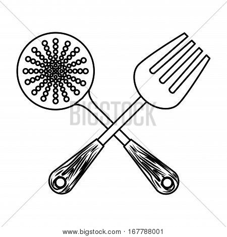 figure skimmer with big fork tools, vector illustration