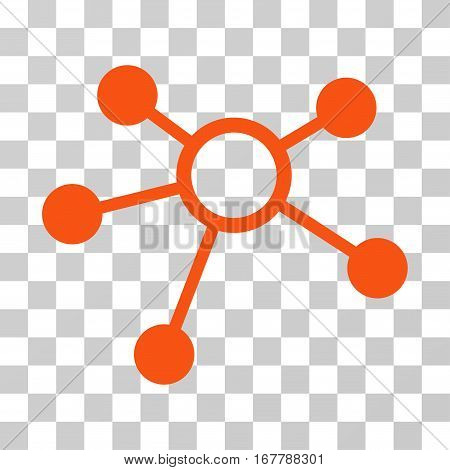 Connections icon. Vector illustration style is flat iconic symbol, orange color, transparent background. Designed for web and software interfaces.