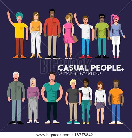 A collection of happy diverse casual people characters. Vector illustration