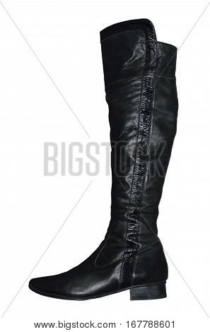 Women knee-high leathers boot isolated on white background.