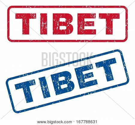 Tibet text rubber seal stamp watermarks. Vector style is blue and red ink tag inside rounded rectangular banner. Grunge design and scratched texture. Blue and red stickers.