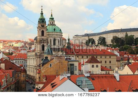 City of Prague - Westward view of Lesser Town (Malá Strana) and the Church of St. Nicholas from the Lesser Town Bridge Tower (Charles Bridge).