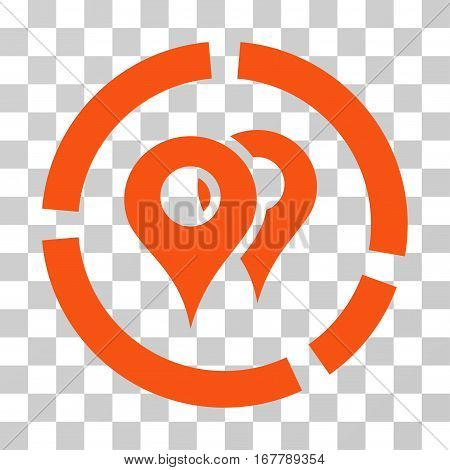Geo Diagram icon. Vector illustration style is flat iconic symbol, orange color, transparent background. Designed for web and software interfaces.