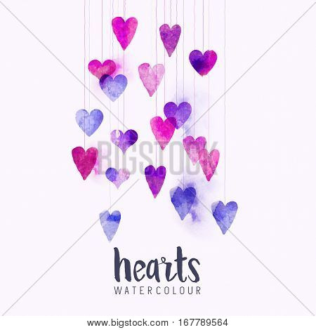 A set of watercolour love hearts on strings. Vector illustration.
