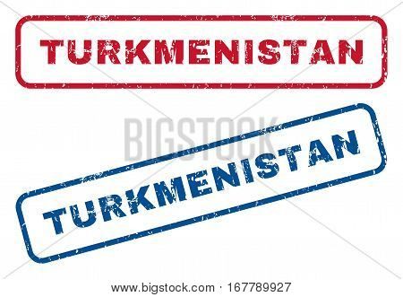 Turkmenistan text rubber seal stamp watermarks. Vector style is blue and red ink caption inside rounded rectangular shape. Grunge design and dirty texture. Blue and red emblems.