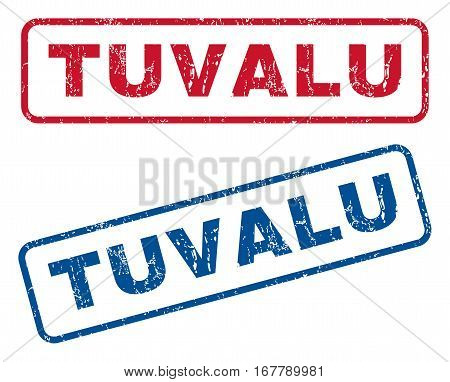 Tuvalu text rubber seal stamp watermarks. Vector style is blue and red ink tag inside rounded rectangular shape. Grunge design and unclean texture. Blue and red signs.