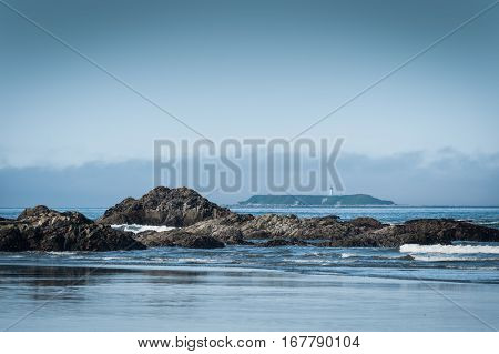 scenic view of Ruby Beach with lighthouse in background Olympic National ParkWashington State USA