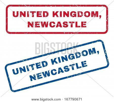 United Kingdom, Newcastle text rubber seal stamp watermarks. Vector style is blue and red ink caption inside rounded rectangular shape. Grunge design and unclean texture. Blue and red stickers.